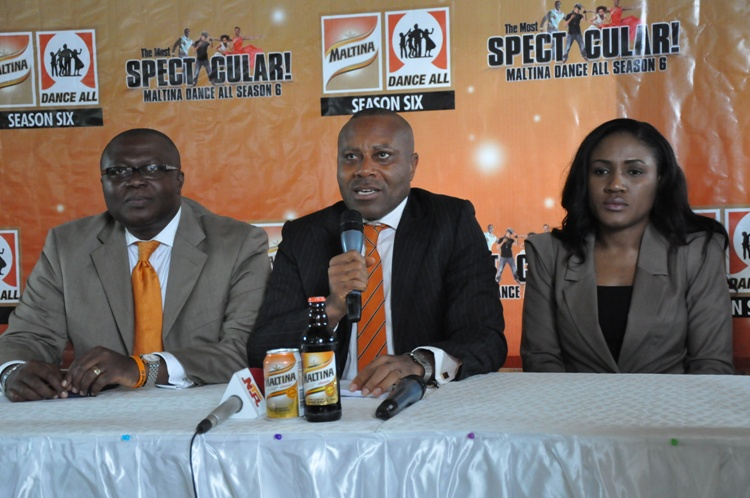 Edem Vindah (Media & Public Affairs, Nigeria Breweries, Plc), Ngozi Nkwoji (Senior Brand Manager Nigeria Breweries Plc) & Bimbo Odufuwa (Dance Director Maltina Dance All) at the press briefing