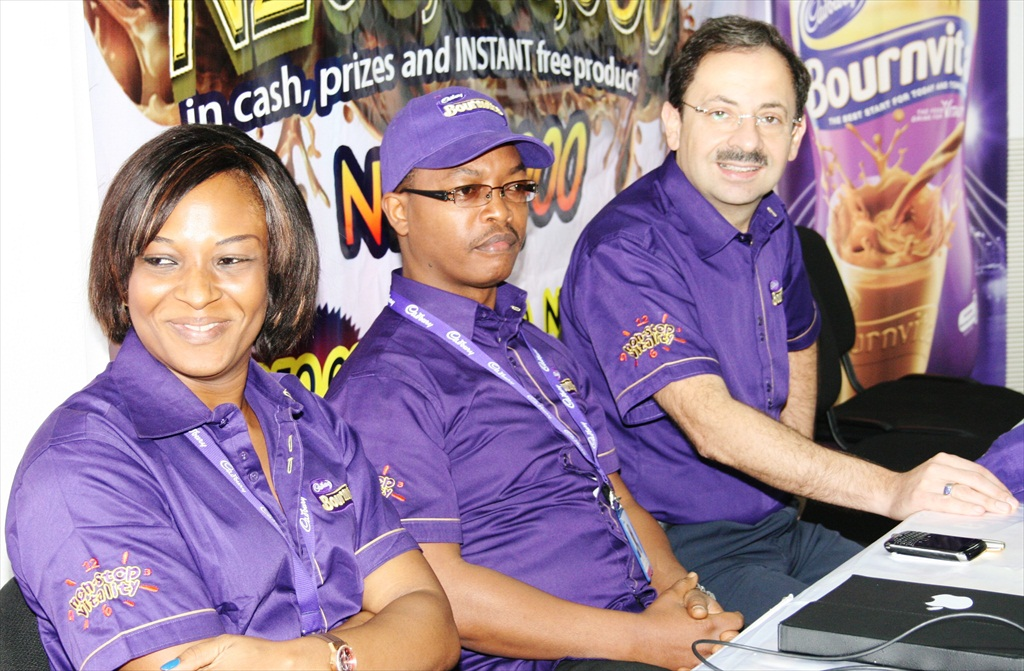 Chioma Afe (Marketing Manager, Food Drinks Cadbury Nigeria Plc), Dele Anifowoshe (Marketing Director, Cadbury Nigeria Plc) & Emil Moskofian (Managing Director, Cadbury Nigeria Plc West Africa)