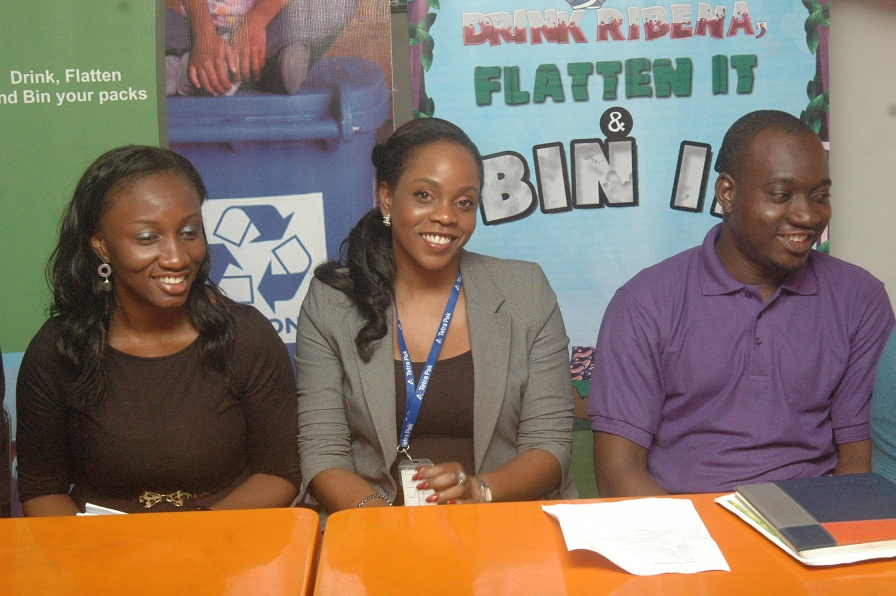 "Ms. Itunu Ogundepo, Environment Manager, Tetra Pak; Ms. Chidilim Menakaye, West Africa Communications Manager, Tetra Pak; and Mr. Olawale Akanbi, Brand Manager, Ribena, at the press announcement of a Ribena-Tetra Pak joint recycle project tagged ""drink it, flatten it and bin it"" campaign, in Lagos recently."