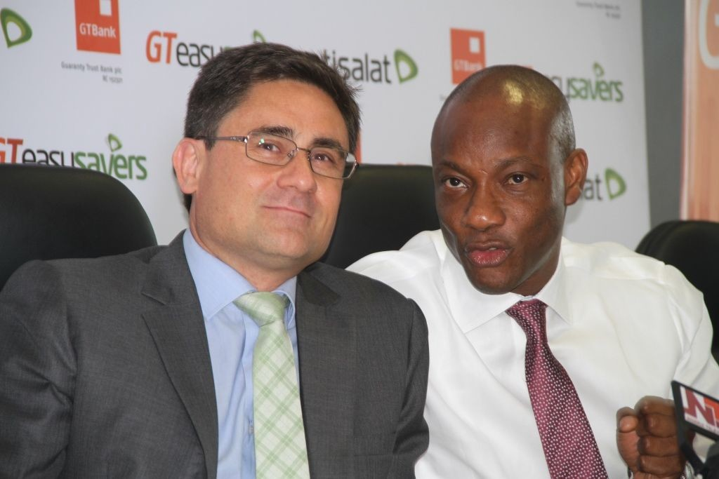 Chief Executive Officer, Etisalat Nigeria, Matthew Willsher; Managing Director and CEO of Guaranty Trust Bank Plc, Segun Agbaje