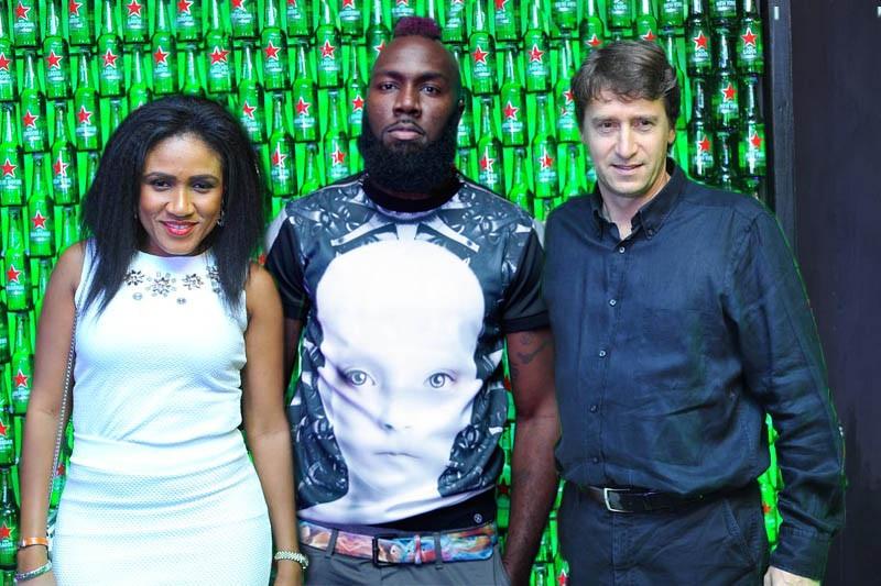 Senior Brand Manager, Heineken Nigeria, Ngozi Nkwoji, International DJ, Benny D and Marketing Director, Nigerian Breweries, Walter Drenth at Heineken Green Light 2014