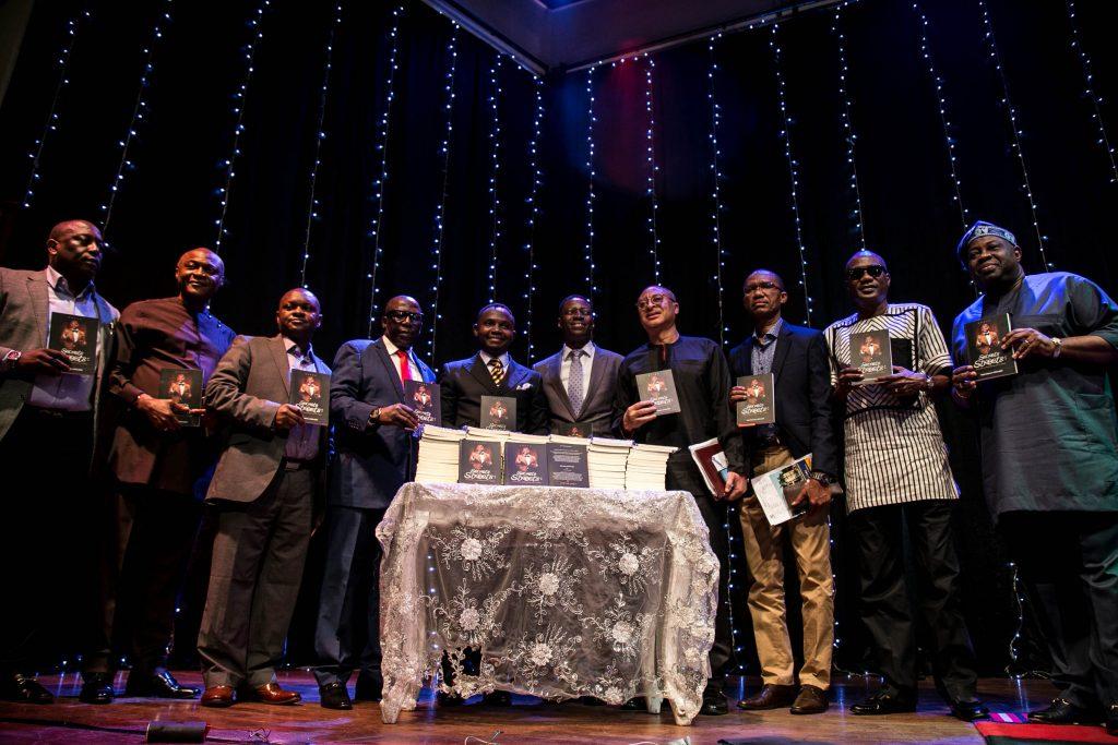 Teju Babyface flanked by Sam Adeyemi, Pat Utomi, Dele Momodu, Basorge Tariah