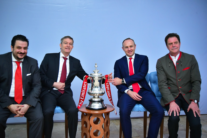 Marketing Director, Nigerian Breweries, Franco Maria- Maggi; Out-going Managing Director, Nigeria Breweries, Nicolaas Vervelde; Partnership Manger, Arsenal Football Club, Gordon Tannock; President, Africa, Middle east and Eastern Europe, Heineken NV., Roland Pirmez,; are pictured at the Nigerian breweries headquarters alongside the trophy just two weeks after the club won it for a record 13th time.