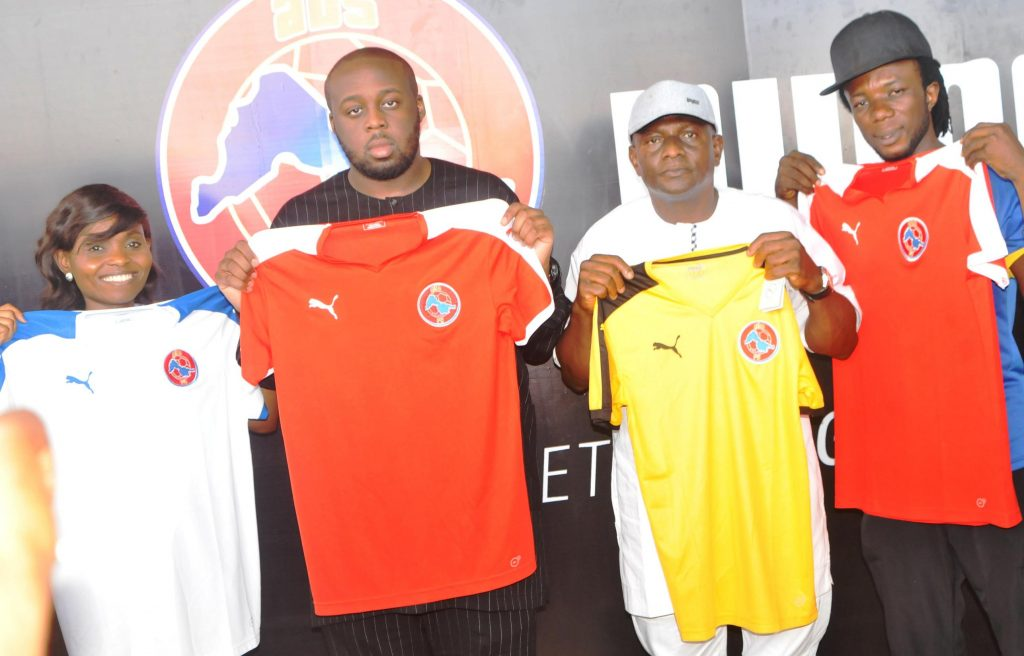 Head of Brand, PUMA, Aderemi Adefolami, representative of Senate President and Chairman, ABS FC,Ilorin, Seni Saraki, Kwara state Commissioner for Sports, Ayo Nuhu and Captain fof the Club, Samuel Oyedeji  at the unveiling unveiling of PUMA-ABS FC jersey in  Ilorin  on recently