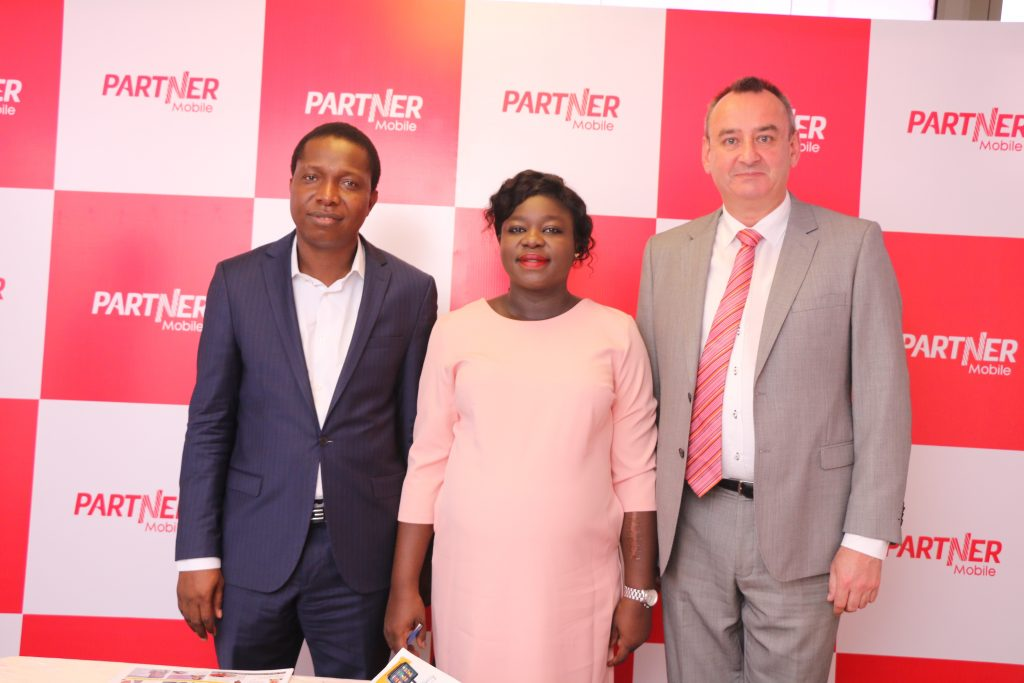 Caption 2 L-R:  Technical Partner, Partner Mobile, Sola Akintola, Marketing Manager, Partner Mobile, Ife Akerele-Molokwu and Chief Operating Officer, Partner Mobile, Simon Klepper at the launch of PS 3  to celebrate Partner Mobile 1st anniversary in Lagos today in Lagos yesterday..
