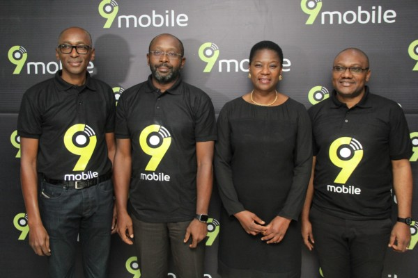 Vice President, Regulatory and Corporate Affairs, Ibrahim Dikko; Chief Executive Officer, Boye Olusanya; Chief Financial Officer, Funke Ighodaro and Vice President, Marketing, Adebisi Idowu all of 9mobile at the launch of 9mobile's new brand identity​