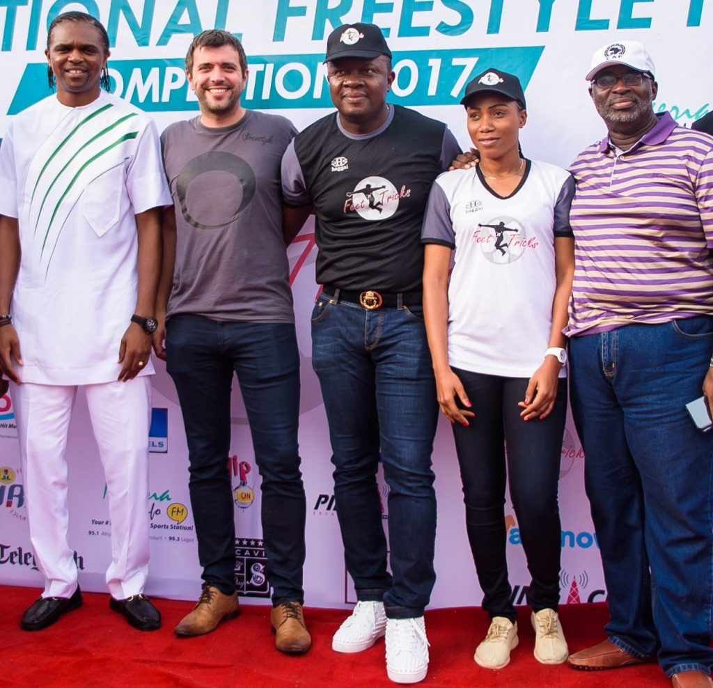 l-r: Director, Feet 'n' Tricks and football legend, Kanu Nwankwo; President Of World Freestyle Football Federation, Daniel Wood; Chairman, Feet 'n' Tricks, Valentine Ozigbo; Super Falcon Defender , Onome Ebi ; and Vice President, Nigerian Football Federation (NFF), Seyi Akinwunmi , during the grand finale of Nigerian Freestyle Football Competition, organised by Feet 'n' Tricks Limited in Lagos on Sunday