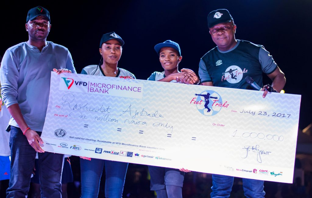 L:R: Managing Director, VFD, Microfinance Limited, Azubuike Emodi; Super Falcon Defender , Onome Ebi; Female Champion, Rasheed Ajibade ; and Chairman, Feet 'n' Tricks, Valentine Ozigbo at  the grand finale of Nigerian Freestyle Football Competition, organised by Feet 'n' Tricks Limited in Lagos on Sunday