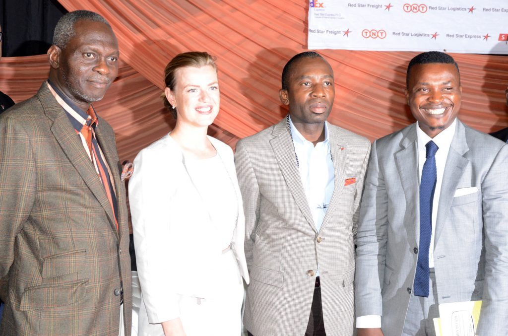 L-R:Adedapo Adelegan, President, Nigerian British Chamber of Commerce/speaker (left); Anna Einarsson, Chief Executive Officer, Tribute; Sola Obabori, Group Managing Director, Red Star Plc, and Paul Foh, Chief Executive Officer, Katalyst Consulting, during the Red Star 2017 SMEs 1000 Forum in Lagos at the weekend.