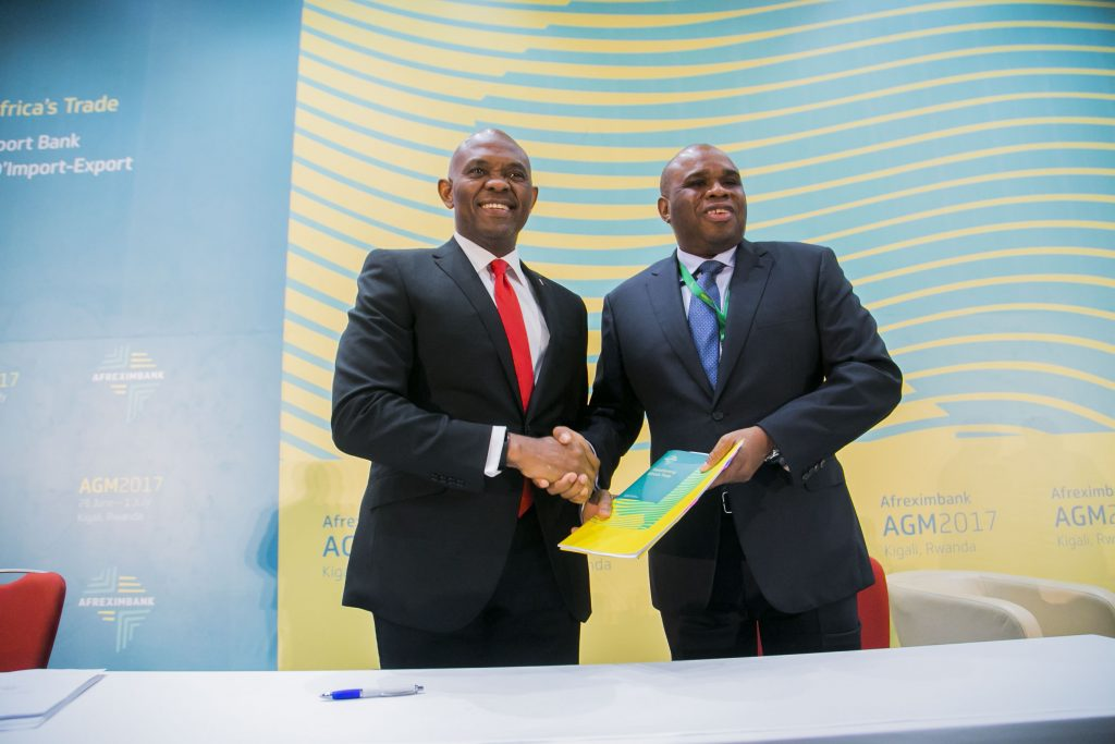 Mr. Tony O. Elumelu, CON, Chairman Heirs Holdings with Dr Okey Oramah, President and Chairman, African Export-Import Bank (Afreximbank) during the signing ceremony of the $100million facility to Heirs Holdings Limited to further support its cross-border investment programme.