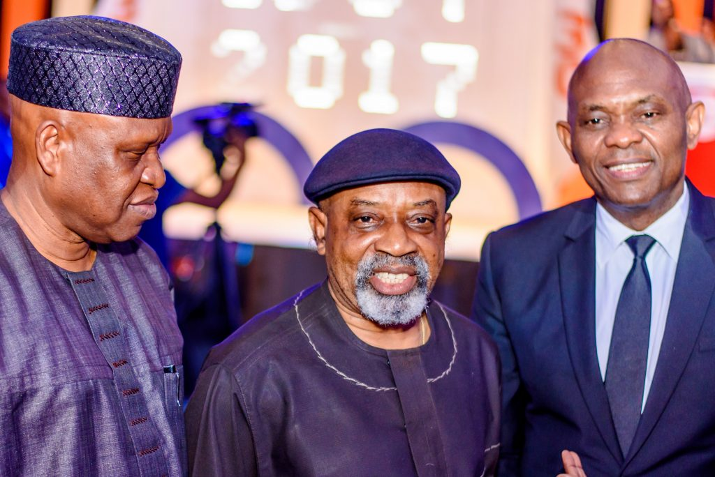 Chairman, Transcorp Hotels Plc Olorogun O'tega Emerhor, Honourable Minister of Labour and Employment, Senator Chris Ngige and Chariman, Transnational Corporation of Nigeria Plc, Tony O Elumelu CON at the 30th Anniversary Celebration of award-winning Transcorp Hilton Abuja.