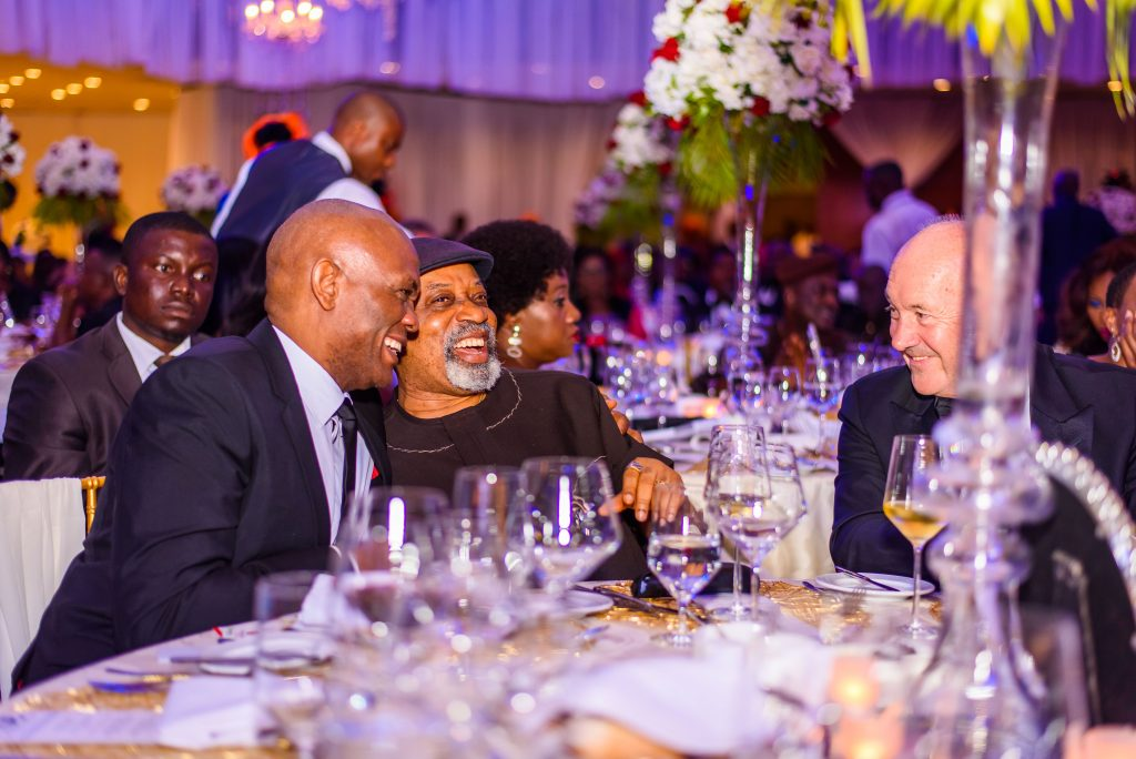 Chairman, Transnational Corporation of Nigeria Tony O. Elumelu CON, Minister of Labour & Employment, Senator Chris Ngige, and Executive Vice President, Hilton Europe, Middle-East & Africa Rudi Jagersbacher at the 30th Anniversary Celebration of award-winning Transcorp Hilton Abuja.