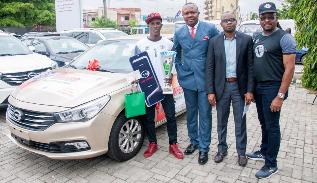 l-r: Overall Winner, Nigeria Freestyle Football  Championship, Mr McCarthy Obanor, beside the 2017 Model GS3 Saloon Car donated by GAC Motors to 1st Prize Winner ; Chairman of Feet 'n' Tricks Limited, Valentine Ozigbo; Senior Sales Manager, CIG Motors Limited, distributor of GAC brands of vehicles in Nigeria, Mr. Phillip Eboka;  National Coordinator, Federal Engagement and Enlightenment Tax Teams, Federal Inland Revenue Services(FIRS), Alhaji Kunle Oseni; CEO, Feet 'n' Tricks Limited, Mr O'Dyke Nzewi, at the presentation ceremony of prizes to winners of the Nigeria Freestyle Football  Championship organised by Feet 'n' Tricks Limited , in Lagos on Monday
