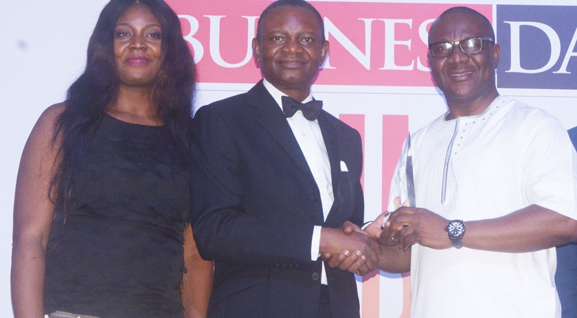 L-R: Adetola Fadeyi, Head Wealth Management, United Capital Plc; Frank Aigbogun, Publisher, Presenting the best bank  in support of the real sector trophy to the Usman Isiaka, Head, Strategic Business Unit, Lagos at the BusinessDay Banking Awards, 2017 during the weekend.