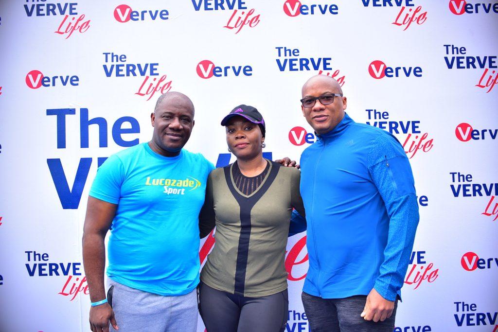 Chinedum Okereke, MD Suntory, Cherry Eromosele, CMO Interswitch and Mitchell Elegbe, GMD, Interswitch