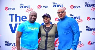 Chinedum Okereke, MD Suntory, Cherry Eromosele, CMO Interswitch and Mitchell Elegbe, GMD, Interswitch