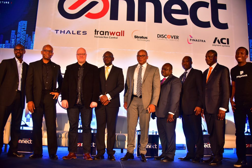 L-R: Degbola Abudu, MD, Capricorn Digital; Uzoma Dozie, CEO, Diamond Bank, Brett King, Akeem Lawal, DCEO, Switching and Processing, Interswitch; Mitchell Elegbe, Founder/CEO, Interswitch; Aboyewa Koko, CIO Access Bank; Musa Jimoh Itopa; Deputy Director, Banking & Payments Systems, CBN; Austin Okere, Founder & Executive Vice Chairman of CWG Plc and Shola Akinde, CEO, Paystack.