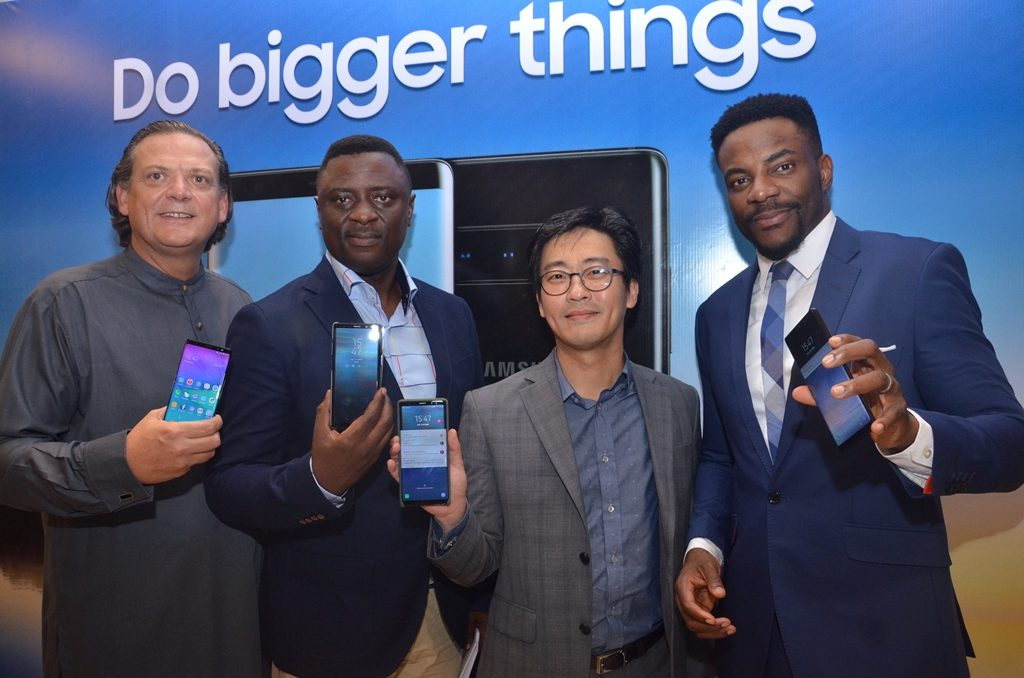 L-R Mr. Emmanouil Revmatas, Director, Information Communication and Technology; Mr. Olumide Ojo, Director, Mobile; Mr. Hungbae Kim, Business Manager, all with Samsung Electronics West Africa; and Mr. Ebuka obi Uchendu, Popular Media Personality/MC at the launch of the newest Samsung Galaxy Note 8 Smartphone , which held at Four Points by Sheraton, VI, Lagos Recently