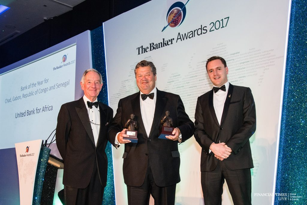 L-R: Former British Broadcasting Corporation(BBC) correspondent, Mr. Michael Buerk; Chief Executive, UBA Capital(Europe) Limited, representing UBA Group, Mr. Andrew Martin; and Editor, Middle East and Africa, The Banker. Mr. James King, during The Banker Awards 2017, organised by The Banker Magazine, a publication of Financial Times(FT), where UBA Group coveted five awards, including the prestigious 'African Bank of the Year 2017', at a ceremony in London yesterday