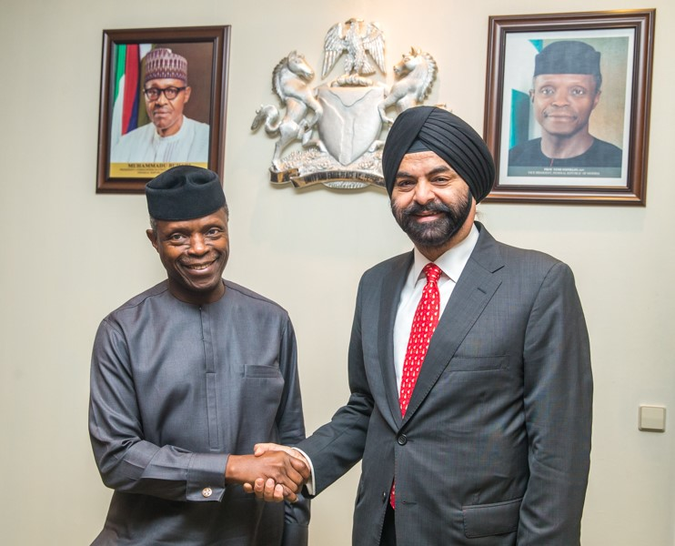 The Vice President of Nigeria, Prof. Yemi Osinbajo SAN, GCON with the President and CEO of Mastercard, Ajay Banga.