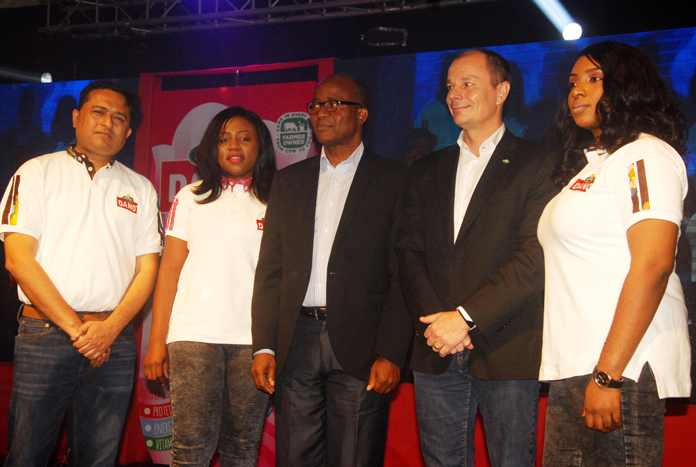L-R: Mr Ripudaman Sharma,Corporate Sales Head, Multipro Consumer Products Ltd, Ms Rosette Agbor, Brand Manager, Arla Dano, Dr Bartholomew Bral,President, Nutrition Society Of Nigeria, Mr Mads Burmester, Managing Director, TG Arla Nigeria And Ms Ifunanya Obiakor, Marketing Manager, TG Arla Nigeria, At The Launch Of Dano Flavoured Milk Powder in Lagos Recently