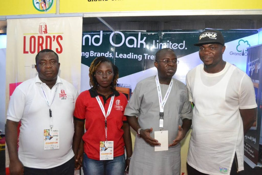 L-R:Activation Executive, Grand Oak Limited, Mr. Benson Oluwafiropo, Trade Marketing Manager, Grand Oak Limited, Mrs. Adenike Lawrence, Managing Director,Grand Oak Limited, Aare Fatai Odesile and C.E.O, Balmoral, Mr. Ezekiel Adamu atthe company's stand during the International Drinks Festival held at FederalPalace Hotel, Victoria Island, Lagos.
