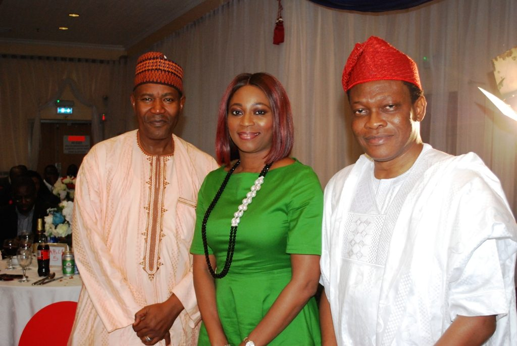 L-R Dean of Faculty of Communication at Bayero University, Kano, Prof. Umaru Pate; Group Head of Marketing & Corporate Communications, First Bank, Folake Ani-Mumuney; and Chief Executive Officer, XLR8, Calixthus Okoruwa during the Presidential Award of Corporate PR Practitioner of the Year 2017 to XLR8 by the Nigerian Institute of Public Relations in Lagos.