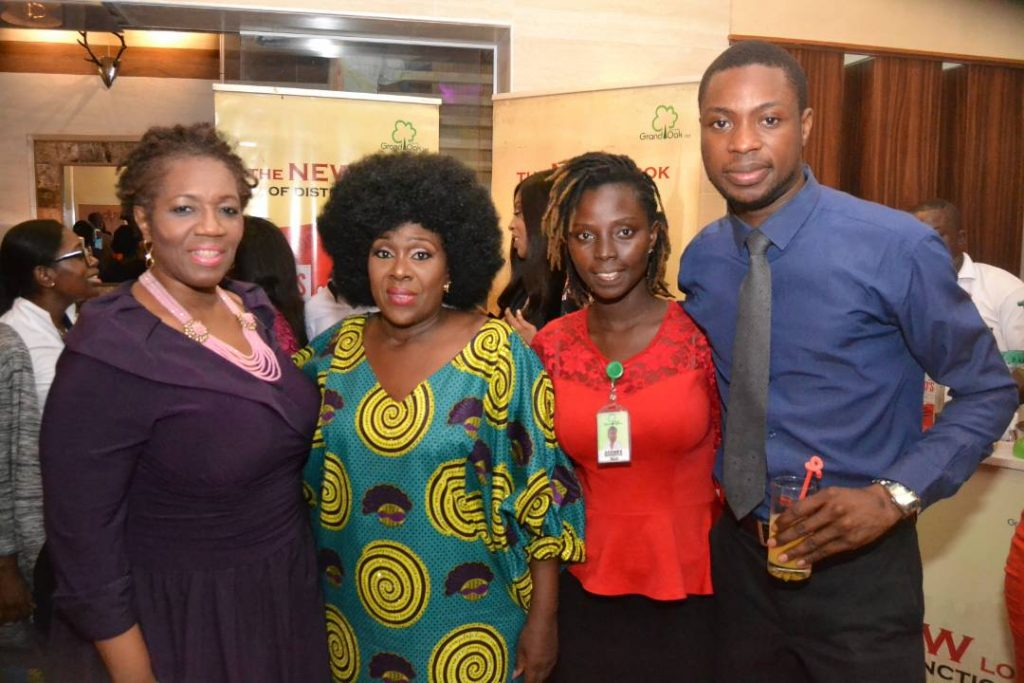L-R: Guest, Ms. Sade Doherty; Veteran Actress/ Producer, Potato Potahto, Joke Silva; Trade Marketing Manager, Grand Oak Limited, Adenike Lawrence and Brand Manager, Lord's Gin, Adebowale Bojuwade during the Potato Potahto movie premiere part-sponsored by Lord's Gin held at IMAX Cinema, Lekki, Lagos.
