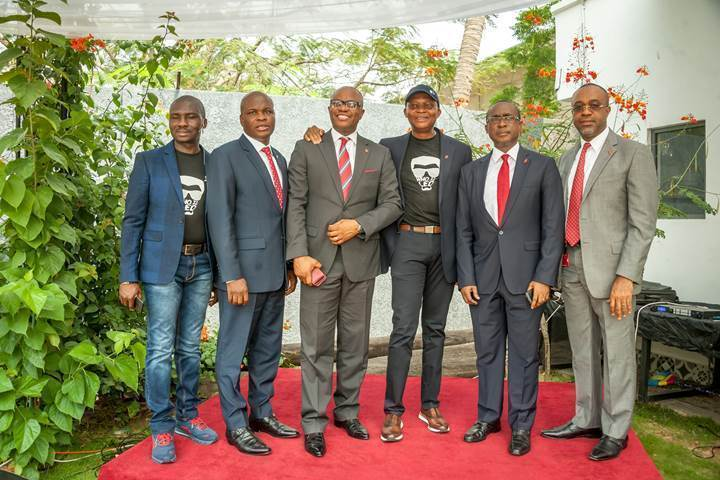 Executive Director, Lagos and West, United Bank for Africa(UBA) Plc, Mr. Ayoku Liadi; CEO, UBA Francophone Africa, UBA Plc, Mr. Emeke Iweriebor; Group Head, Online Banking, Austin Abolusoro; GMD/CEO,  UBA Plc, Mr. Kennedy Uzoka; Executive Director/Group Chief Operations Officer, UBA Plc, Mr. Chukwuma Nweke; and Executive Director, Risk Management, UBA Plc, Mr Ike Uche,  during the launch and introduction of Leo, a Chat Banking Personality on  Social Media Platforms by UBA in Lagos on Thursday