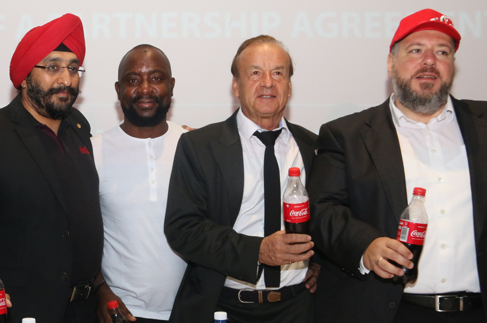 L-R: Bhupendra Suri, Managing Director, Coca-Cola Nigeria Limited; Cletus Onyebuoha, ‎Head of Strategic Marketing, Sparkling West Africa BU, Coca-Cola Nigeria Limited, Gernot Rohr, The Super Eagles Technical Adviser and Georgios Polymenakos, Managing Director of Nigeria Bottling Company at the Coca-Cola Nigeria Limited at the Coca-Cola NFF Partnership Press Conference where Coca-Cola was unveiled as the official soft drink of the Super Eagles and all other Nigeria National Football Teams that held at Eko Hotel.