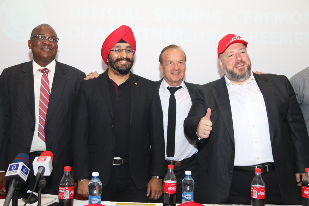 L-R: Olusade Adesola, Permanent Secretary, Federal Ministry of Youth & Sports Development, representing Solomon Dalung, Honourable Minister of Youth & Sports Development; Bhupendra Suri, MD, Coca-Cola Nigeria; Gernot Rohr, Super Eagles Technical Adviser; and Georgios Polymenakos, MD, Nigeria Bottling Company, at the Coca-Cola Nigeria/NFF Partnership Press Conference where Coca-Cola was unveiled as the Official Soft Drink of the Super Eagles and all other Nigeria National Football Teams, on Wednesday 17 January 2018, at Eko Hotel, Lagos.
