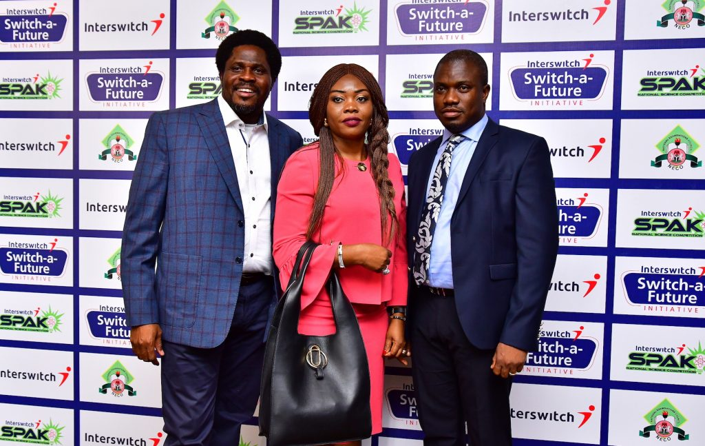 L-R, MD, Just Media Productions, Oladipo Ojo, CMO, Interswitch Group, Cherry Eromosele and Chief Strategy Officer, Interswitch Group, Jonah Adams during the launch of Interswitch SPAK.JPG