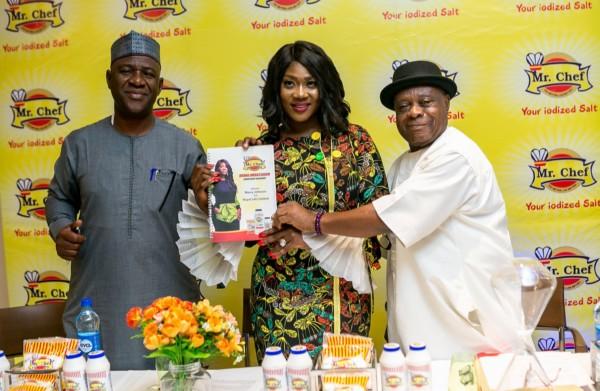 (L-R: Alhaji Lawal Idirisu, Non-Executive Director Royal Salt Limited; Mercy Johnson Okojie,Mr Chef Salt Brand Ambassador; Chief Reggie Uduhiri, Chairman Royal Salt Limited Nigeria;at Mr Chef Salt Brand Ambassador Unveiling/Press Briefing held recently in Lagos