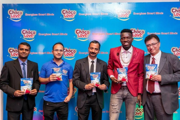 L-R: Santosh Kumar, Regional Sales Manager Southwest Region; Utkarsh Tyagi, Brand Manager; Swatanter Saraswat, Head of Sales & Marketing; Akpororo, Celebrity Comedian; Kumar Venkataraman, Managing Director Sweet Nutrition Limited; at Choco Love Product launch/Press Briefing held recently in Lagos