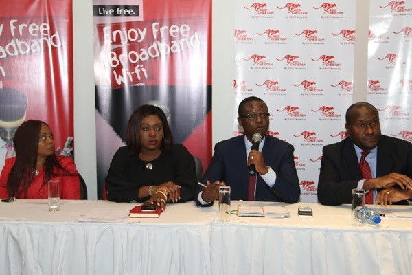 L-R: Managing Director, Swift Networks, Charles Anudu, Chief Marketing Officer, Swift Networks, Victoria Onwubiko; Managing Partner, AT3 Resources, Tosin Adefeko; and Chief Operating Officer, Swift Networks, Chuma Okoye at the press conference announcing the launch of Red Cheetah free broadband service in Lagos