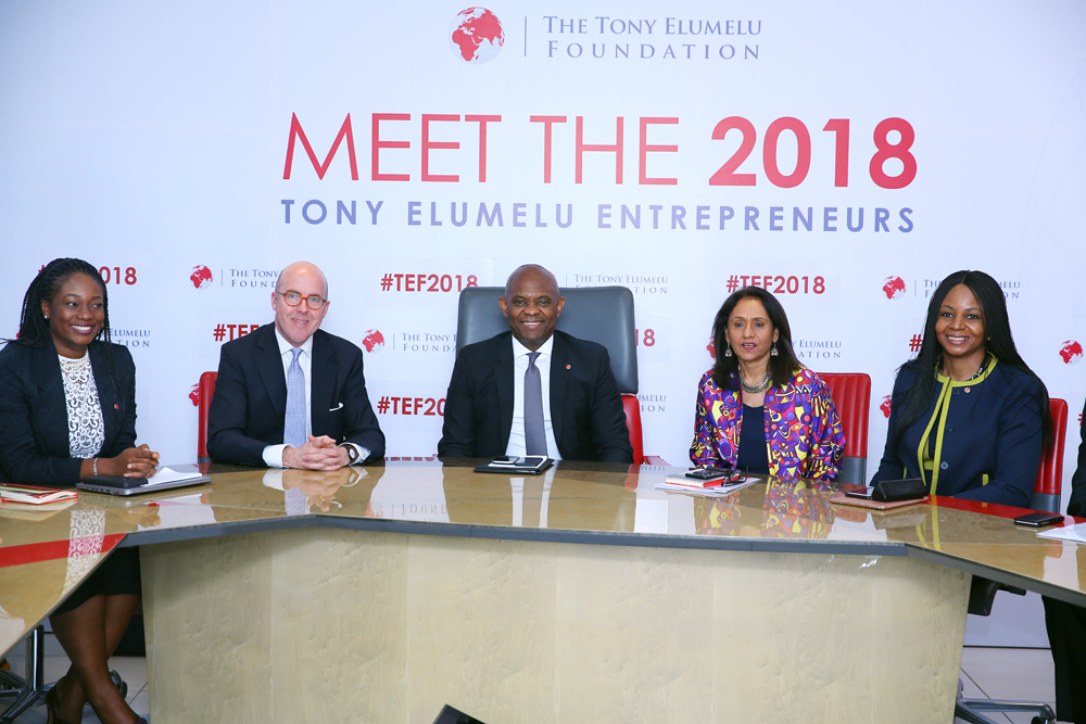 TEF 2018 – Selection Announcement 8: l-r: Director of Partnerships, Tony Elumelu Foundation, Mrs Ifeyinwa Ugochukwu; Member, Board of Trustees, Tony Elumelu Foundation(TEF), Mr. Alex Trotter; Founder , TEF, Mr. Tony Elumelu; CEO, TEF, Parminder Vir; and Member , Board of Trustees and wife of the Founder, Dr Awele Elumelu, during the selection announcement of 1250 entrepreneurs in the 4th ‎cycle of The Tony Elumelu Foundation's (TEF) 10-year, $100 million TEF Entrepreneurship Programme, held in Lagos on Thursday