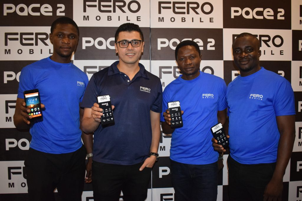 Fero Mobile team at the unveiling of the new Pace 2 smartphone, from Left, Dandy Ikharia, Social Media Manager, Phiroze Seth, Director, Fero Mobile Nigeria and Emerging Markets, Deji Ogunmola, Learning and Development Manager and Victor Odoginyon, Head Operations and Customer Service