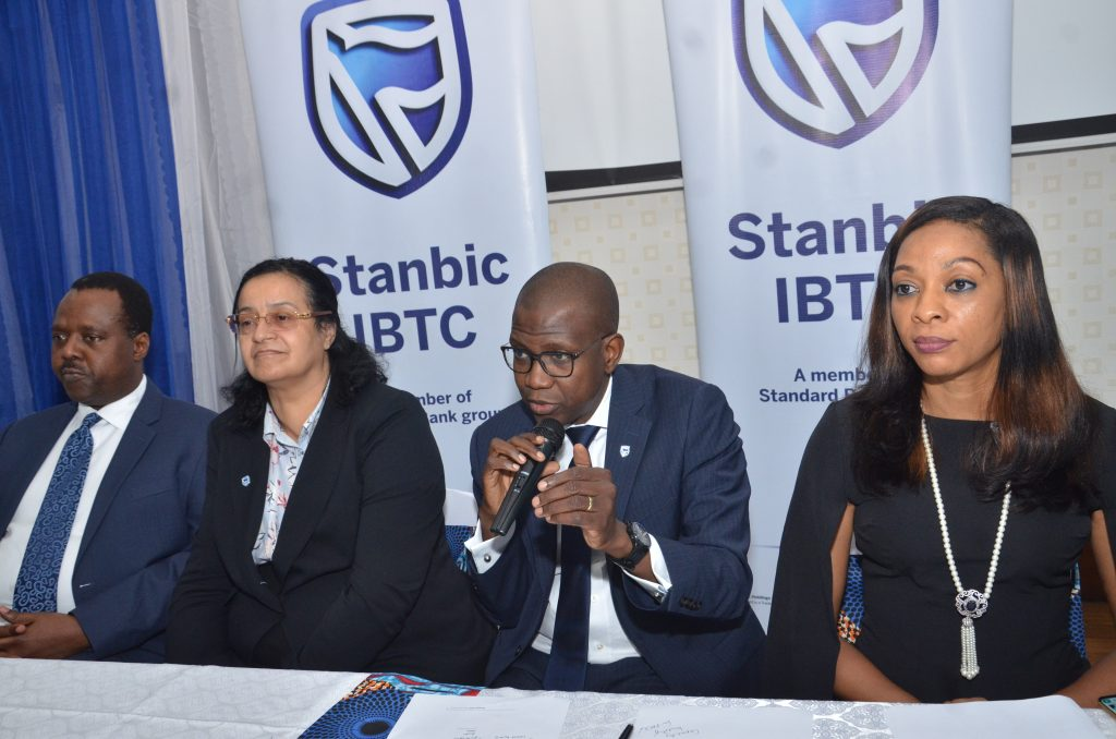L-R: Chief Executive, Stanbic IBTC Pension Managers Limited, Eric Fajemisin; Country Head, Legal Services, Stanbic IBTC, Angela Omo-dare; Chief Executive, Stanbic IBTC Holdings PLC, Yinka Sanni; and Head, Marketing and Communications, Stanbic IBTC, Nkiru Olumide-Ojo, during the media launch and unveiling of Stanbic IBTC's new brand campaign at the financial institution's head office in Lagos Recently