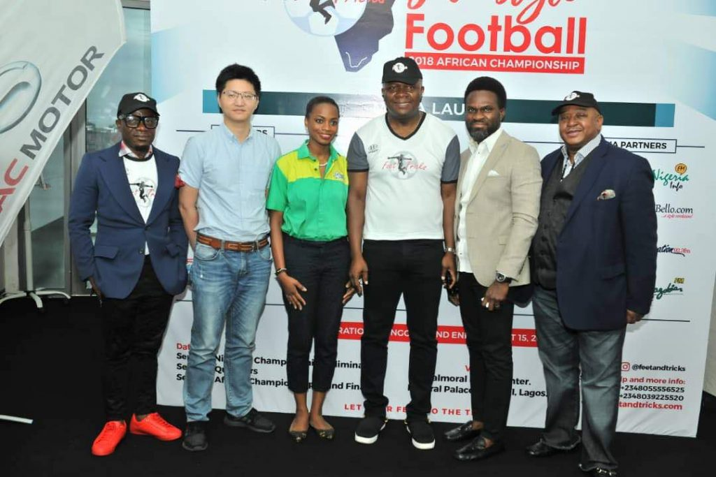 L-R: Godwin Nwanagu, Director, Feet 'n' Tricks International; Mr Scofield Wu, Manager, GAC Motors Africa; Jumoke Oyewole-Lawuyi, Brand Manager, Sprite; Valentine Ozigbo; Chairman, Feet 'n' Tricks International; Mary-Callista Ozigbo; Iheanyi Nzekwe; Distributors of Scavi & Ray, Mr Fela Ibidapo, Divisional Head, Communications, Heritage Bank; and Olisa Adibua, Director, Feet 'n' Tricks International, during the Press Conference to announce the commencement the call for entries for Freestyle Football 2018 African Championship to be organised by Feet 'n' Tricks International in partnership with the World Freestyle Football Association (WFFA), in Lagos Recently