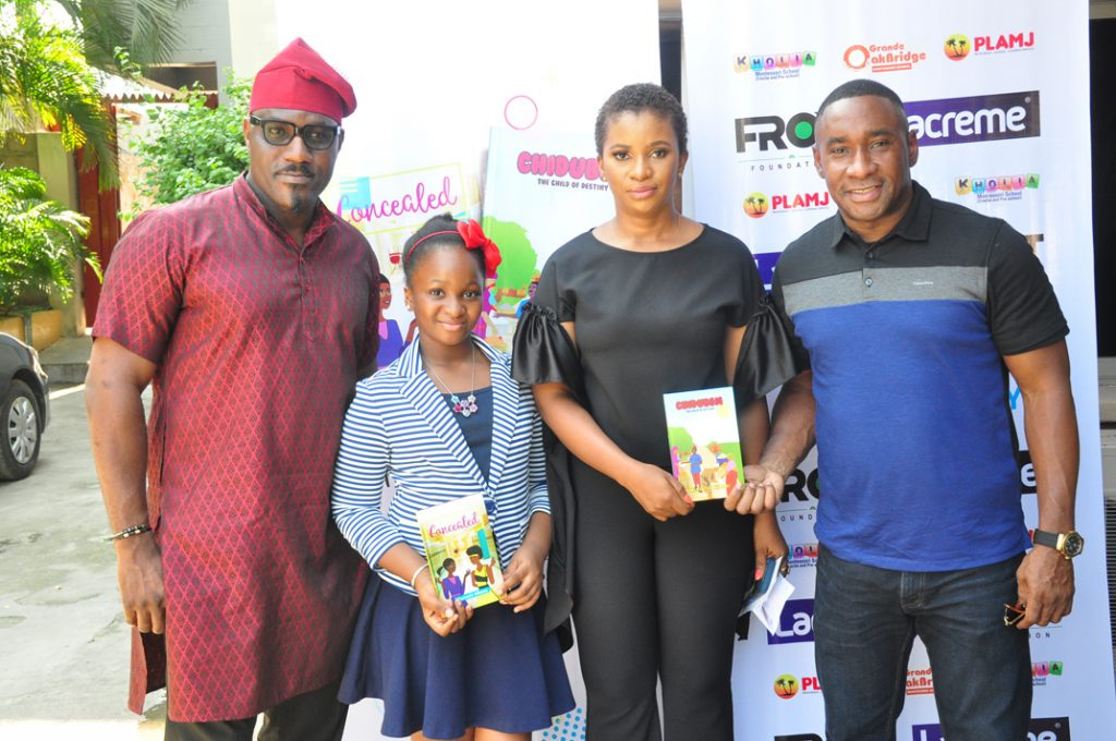 "Toni Kan, guest speaker; Munachi Mbonu, author of the books title "" Concealed and The Child of Destiny"", her mother Ify Mbonu, and Nicolas Okoye, president/CEO, Anabel Group, during the books presentation in Lagos."