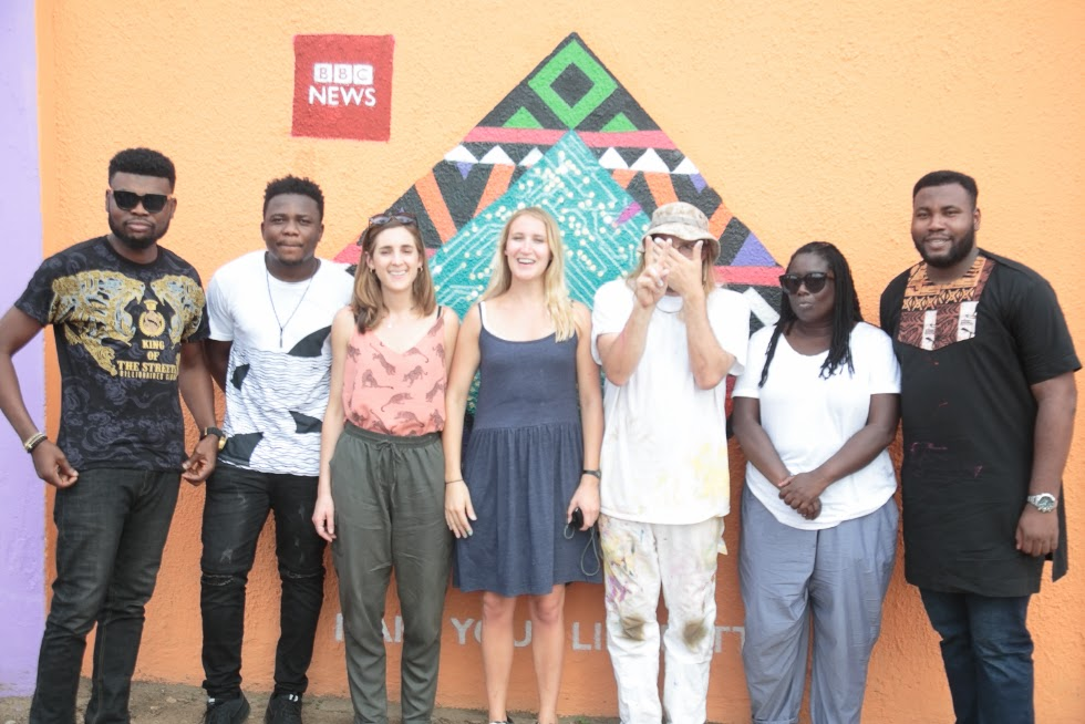 L:R : Omobaba No 1;Dominic Okwuchukwu Martins,Creative Director Amazing  Klef  Studio; Kate Jacobson, Marketing Manager, BBC World Service; Sarah Fox, Art Director , BBC Creative ;INSA ,Artist;  Bebe Kiffin, Producer With BBC World Service; Adetoba Caf-Obasa, Boomerang Communications During Make More of your World Campaign  in University  of Lagos