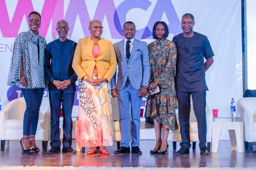 L-R: Temitope Jemerigbe, Managing Director, DKK Nigeria; Lampe Omoyele, Managing Director, 141 Worldwide; Julia Oku Jacks, Managing Director, Treewater Limited; Joshua Ajayi, Publisher, Brand Communicator Magazine and Convener, WIMCA; Folake Ani-Mumuney, Chairperson, FBN Insurance Brokers & President, Advertisers Association of Nigeria and Alex Goma, Managing Director, PZ Cussons and one of the keynote speakers at the Women in Marketing & Communications Conference/ Awards (WIMCA) 2018 held on Friday, August 31st  2018 at  Muson Centre, Lagos.