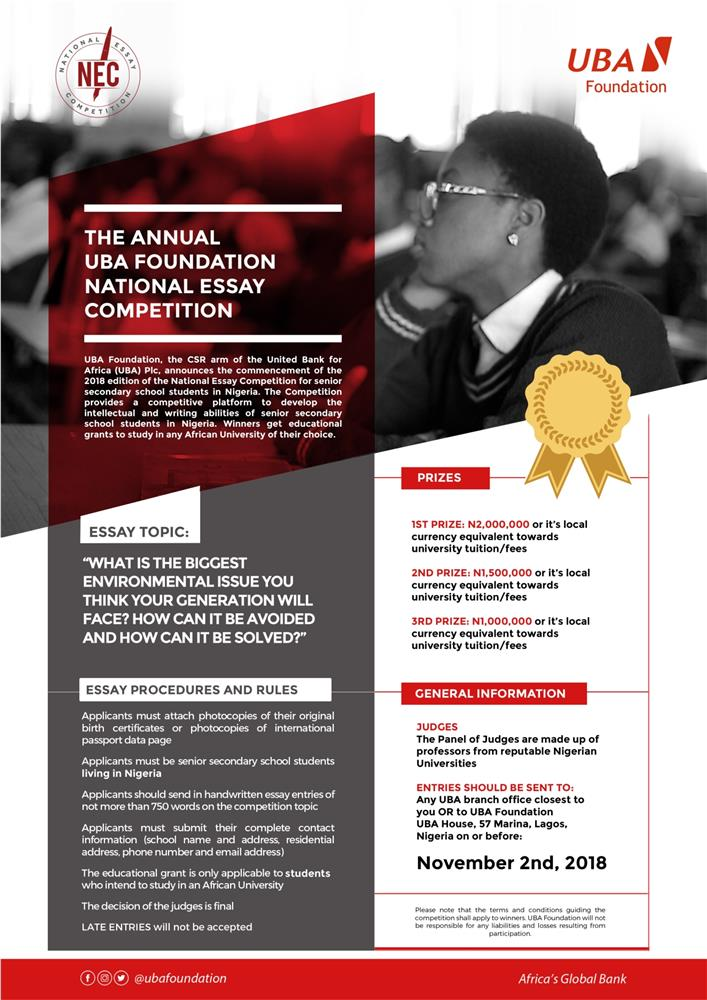 Uba Receiving Entries For National Essay Competition  Brandessence  The Uba Foundation Is Now Accepting Entries For This Years Edition Of The  National Essay Competition The First Prize For The Competition Is A N  Million