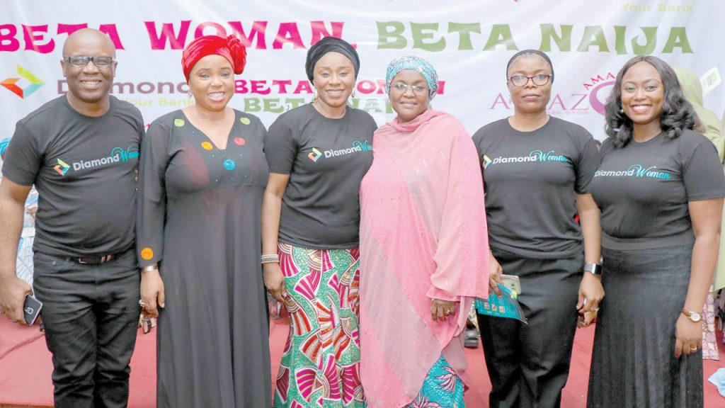 Head, Financial Inclusion, Diamond Bank, Iheanyi Ononiwu (left); Founder, Amazing Amazon Initiative, Mercy Makinde; Group Head, Agency and Merchant Services, Diamond Bank, Uche Ben-Uzoebo; Commissioner of Women Affairs, Kaduna State, Hajiya Hafsat Mohammed Baba; Area Manager, Kaduna Kachia, Diamond Bank, Kuburat Amodu-Ode; Branch Manager, Isa Kaita, Fatimah Pollit, during BETA WOMAN BETA NAIJA launch by the bank, in Kaduna.