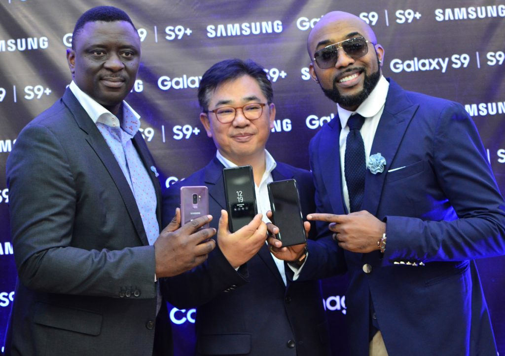 L-R: Director, Information Technology and Mobile, Samsung Electronics West Africa, Mr. Olumide Ojo; President, Samsung Central Africa, Mr. John Park and Samsung Ambassador, Mr. Bankole Wellington (Banky W) during the launch of the Samsung S9 and S9+ smartphones at Samsung Experience Centre, Ikeja City Mall recently.