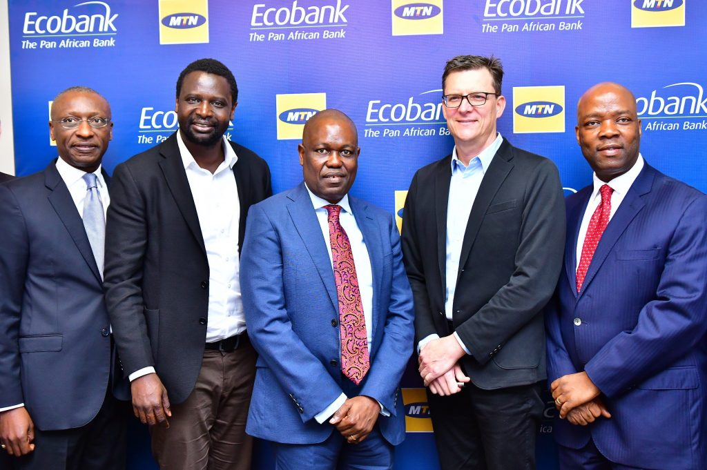 L-R: Charles Kie, Chief Executive Officer, Ecobank Nigeria; Serigne Dioum, Group Executive, Mobile Financial Services, MTN; Ade Ayeyemi, Group Chief Executive Officer, Ecobank; Rob Shuter, Group Chief Executive Officer, MTN and Patrick Akinwuntan, Group Executive, Consumer Banking, Ecobank, during the MOU signing between MTN Group and Ecobank Group for the provision of Pan-African Mobile Financial Services, in Lagos Yesterday.
