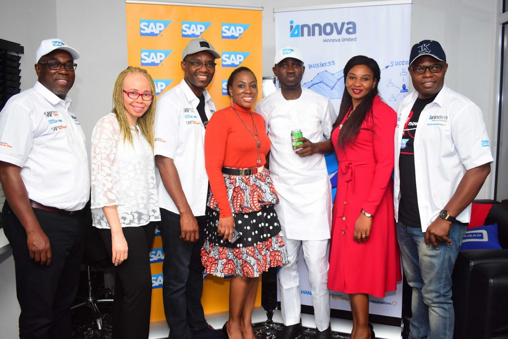 Ade Adenoma, Director, i4nnova Ltd, Lolita Aguele, B1 Head, West Africa, Adebayor Akinwunmi, Director, i4nnova Ltd, Folusho Ade-Ogunrinde, Africa Head, Business ByDesign Pre-Sales, Ayeni Adekunle, Founder/CEO BHM Group, Juliet Omorodion, SAP Head Marketing, West Africa and Kelechi Nwosu, Director, i4nnova Ltd at the official launch of BHM on SAP in Lagos recently.